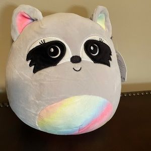 """MAX THE RACCOON SQUISHMALLOW 8"""" COLORFUL TAIL NWT"""